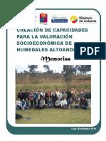 Memorias Taller de Valoración socioeconómica de Humedales Altoandinos