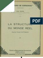 Jean Wahl Lestructure Du Monde Reel Selon Nicolai Hartmann