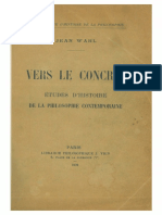 Jean Wahl Vers Le Concret Etudes Dhistoire de La Philosophie Contemporaine William James Whitehead Gabriel Marcel
