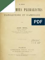 Wahl - Les Philosophies Pluralistes