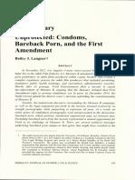 Unprotected- Condoms Bareback Porn and the First Amendment