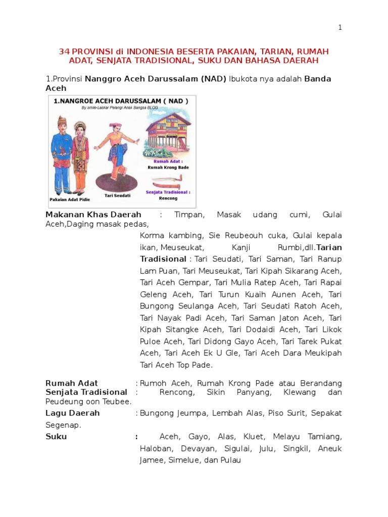 34 Provinsi Di Indonesia Beserta Pakaian Docx