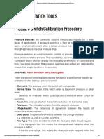 Pressure Switch Calibration Procedure
