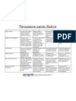 Persuasive Letter Rubric