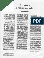 L'Occident Et La Rumeur Antiserbe 1992