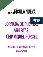 Cartell Jornada Portes Obertes - Cast