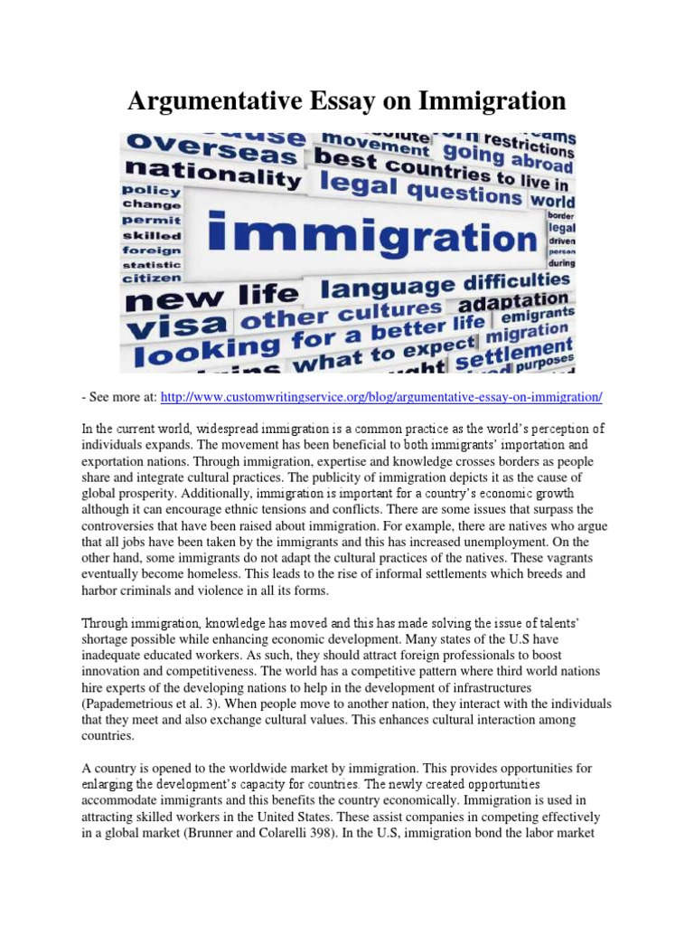 Argumentative essay on illegal immigration