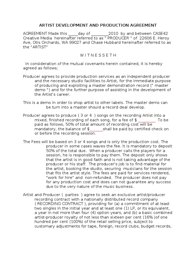 artist development contract royalty payment breach of contract