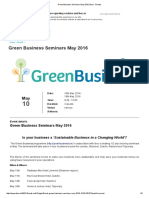 Green Business Seminars May 2016 - Is your business a 'Sustainable Business in a Changing World'?
