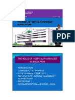 The Role of Hospital Pharmacist as Preceptor