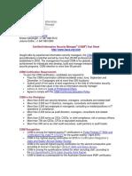 2015 CISM Fact Sheet Pre Eng 1015