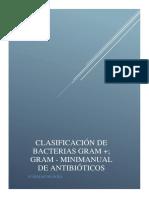 CLASIFICACIÓN DE BACTERIAS GRAM +; GRAM-; ELABORACIÓN DE UN MINI-MANUAL DE ANTIBIÓTICOS