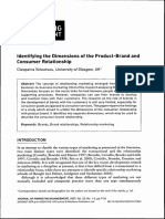 Identifying the Dimensions of the Product-Brand and Consumer Realtionships,Cleopatra Veloustsou