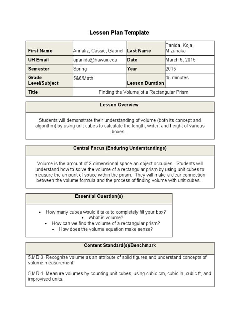 Volume Lesson Plan Volume Educational Assessment