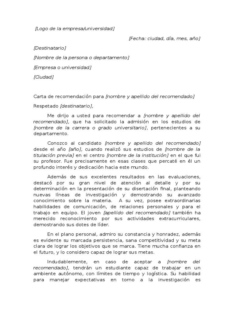 Ejemplo De Carta De Recomendacion Academica Para Universidad Pdf Science Ciencia Y Tecnologia Carta de recomendacion para estudiante