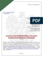ULTIMATUM Zwierzchnika Władzy w RP 13-11-2015