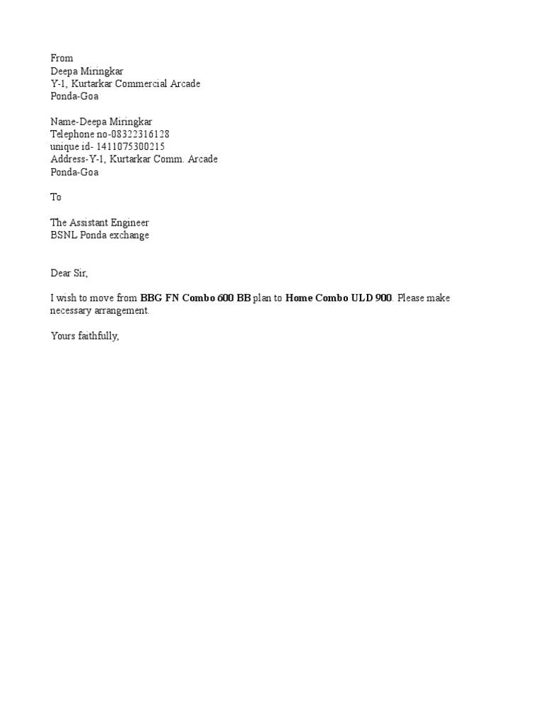 Complaint Letter Format To Mtnl.  1522729077 v 1