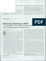 Enhancing Meaning in Work_a Prescription for Preventing Physician Burnout and Promoting Patient_centered Care_2009