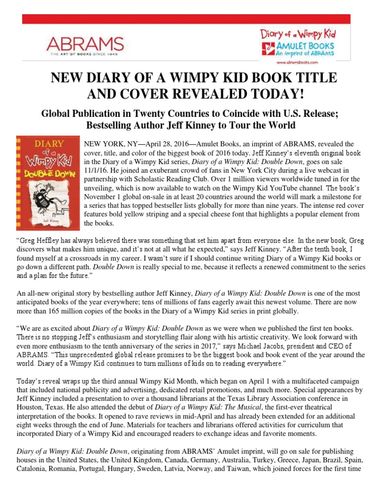 diary of a wimpy kid 11 book title and cover revealed books