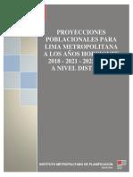 2.10 Lima Metropolitana Tendencias de Crecimiento Poblacional. Estimaciones y Proyecciones Segun Provincias y Distritos Al Ano 2035