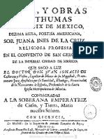 Fama y Obras Postumas de Sor Juana Ines de La Cruz - 1714