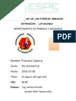 Control de Lectura El Negocio Del Siglo Xxi Francisco Valencia