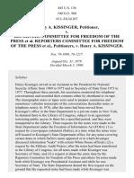 Kissinger v. Reporters Comm. for Freedom of Press, 445 U.S. 136 (1980)