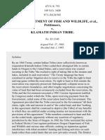 Oregon Dept. of Fish and Wildlife v. Klamath Tribe, 473 U.S. 753 (1985)