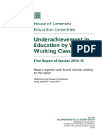 underachievement in eduction by white working class students - house of commons