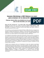 160427 IBM Sesame Workshop e IBM Watson se unen para avanzar en la educación infantil