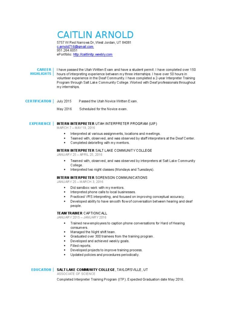 Interpreter Resume Final Language Interpretation Internship