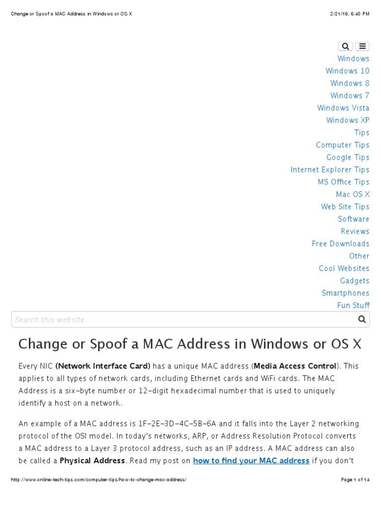 Change or Spoof a MAC Address in Windows or OS X | Network