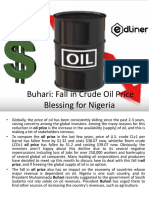 Buhari Fall in Crude Oil Price Blessing for Nigeria