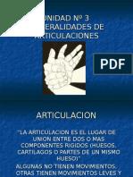 Inst. Quirúrgica - 1º Año - Anatomía - Unidad Nº3 - Generalidades de Articulaciones
