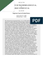 Department of Transportation v. Public Citizen, 541 U.S. 752 (2004)