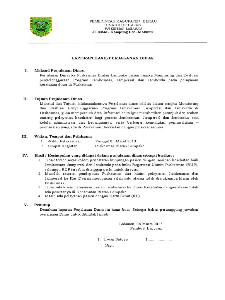 Contoh Format Laporan Perjalanan Dinas Jawat Koso