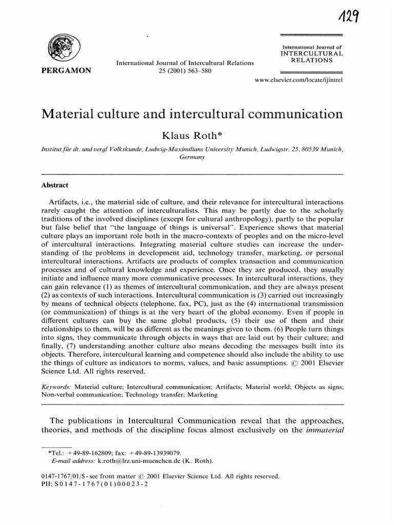 Material Culture and Intercultural Communication | Cross Cultural ...
