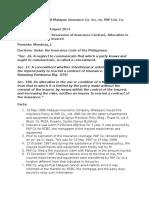 Insurance Case #048 Malayan Insurance Co. Inc. vs. PAP Ltd. Co (Phil. Br)