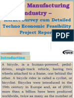 Bicycle Manufacturing Industry - Market Survey cum Detailed Techno Economic Feasibility Project Report