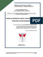 Tesis Banco de Sangre de Tarija, Funcionamiento y Propuesta de Mejoramiento