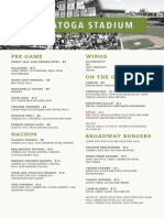 Saratoga Stadium Food Menu