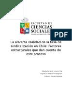 La adversa realidad de la tasa de sindicalización en Chile