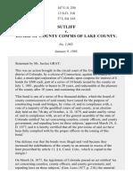Sutliff v. Lake County Comm'rs, 147 U.S. 230 (1893)