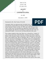 Allen v. United States, 150 U.S. 551 (1893)