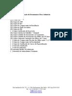 Relação de Documentos Para Admissão  funcionários