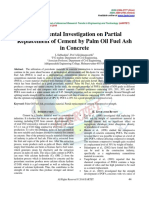 Experimental Investigation on Partial Replacement of Cement by Palm Oil Fuel Ash in Concrete