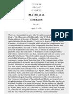 Blythe v. Hinckley, 173 U.S. 501 (1899)