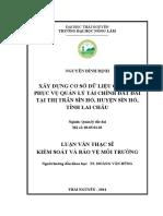Xây Dựng Cơ Sở Dữ Liệu Giá Đất Phục Vụ Quản Lý Tài Chính Đất Đai Tại Thị Trấn Sìn Hồ, Huyện Sìn Hồ, Tỉnh Lai Châu