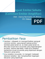 Penguat Emitor Ditanahkan Common Emitor Amplifier