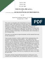 United States v. National Exchange Bank of Providence, 214 U.S. 302 (1909)